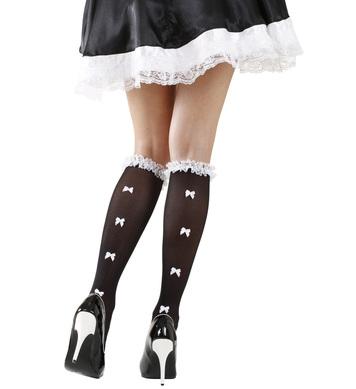 BLACK SOCKS W/ RUFFLE LACE TRIM & WHITE BOWS