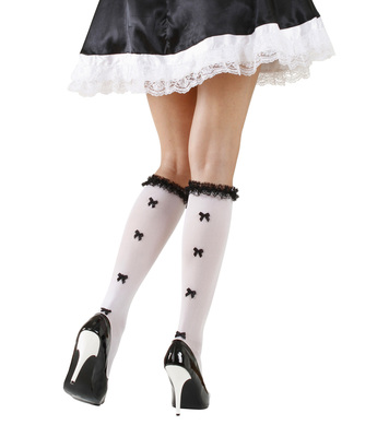 WHITE SOCKS W/ RUFFLE LACE TRIM & BLACK BOWS