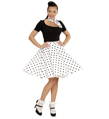 50s POLKA DOT SKIRT / SCARF SET - WHITE