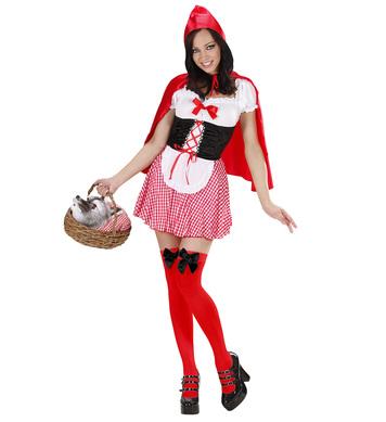RED CAPELET (dress w/petticoat corset apron capelet)
