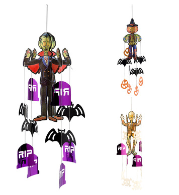 HALLOWEEN CHARACTERS W/PENDING DECORATIONS