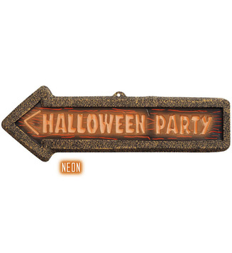 3D NEON HALLOWEEN PARTY SIGNS 56cm x 17cm