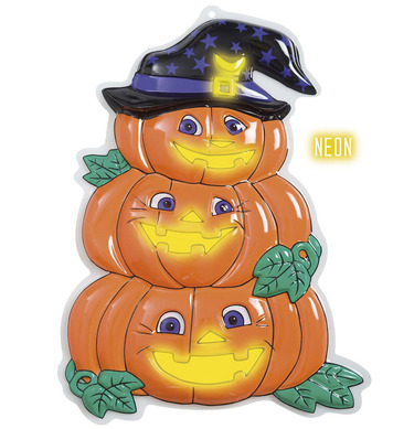 3D NEON PUMPKIN TRIO WITH HAT - 32.5cm x 48.5cm