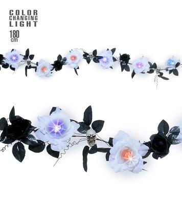 FLOWER & SKULL GARLANDS -6col CHANGE LIGHT WHITE ROSES 1.8m