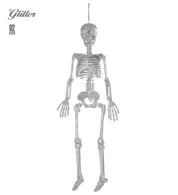 SILVER GLITTER SKELETONS  92cm