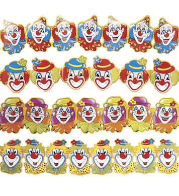 CLOWN PAPER GARLAND 3m - 4 styles