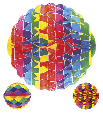 H/COMB PRINTED PAPERBALL 28cm 3styles