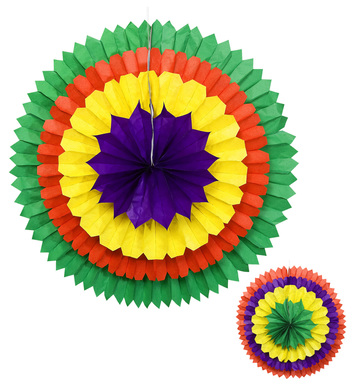 3D COLOUR PAPER FAN 56cm - 2 colours