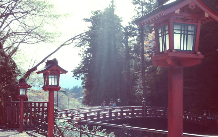 beautiful nikko in japan with an ancient and traditional edo bridge.