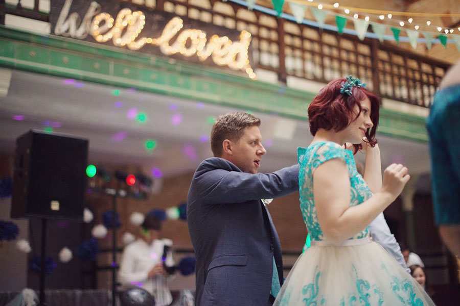 Manchester Victoria Bath wedding venue with an alternative turquoise bridal gown blue bride dress with a natural wedding photography