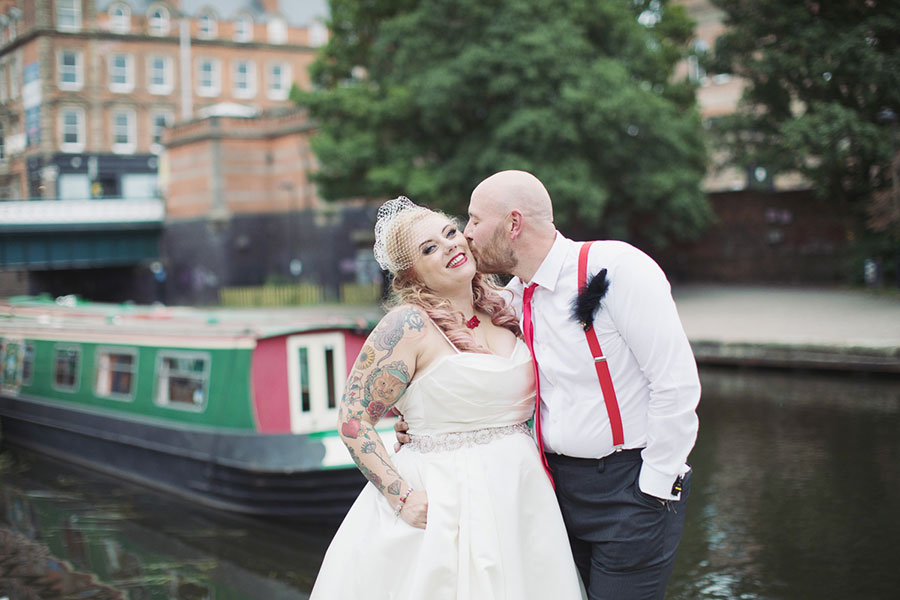 Nottingham Canalhouse wedding small pub venue by the canal with an alternate, pin up bride and a photo of rock n roll bride & groom by Sasha Lee Photography