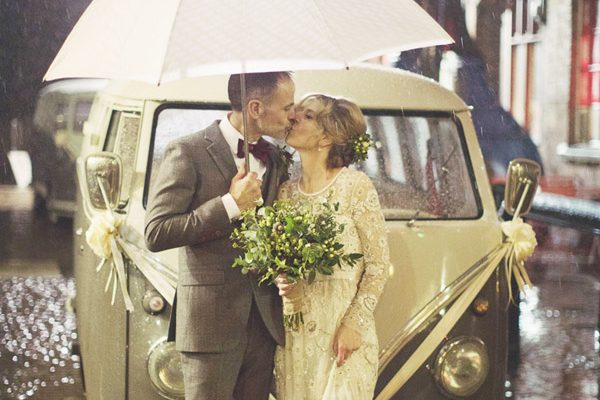 Kelham Island Museum wedding | Sheffield alternative rustic industrial wedding venue | Winter wedding | Mature older couple bride and groom | Natural wedding photography in Sheffield | Female wedding photographer | Sasha Lee Photography | Voltswagon in rain