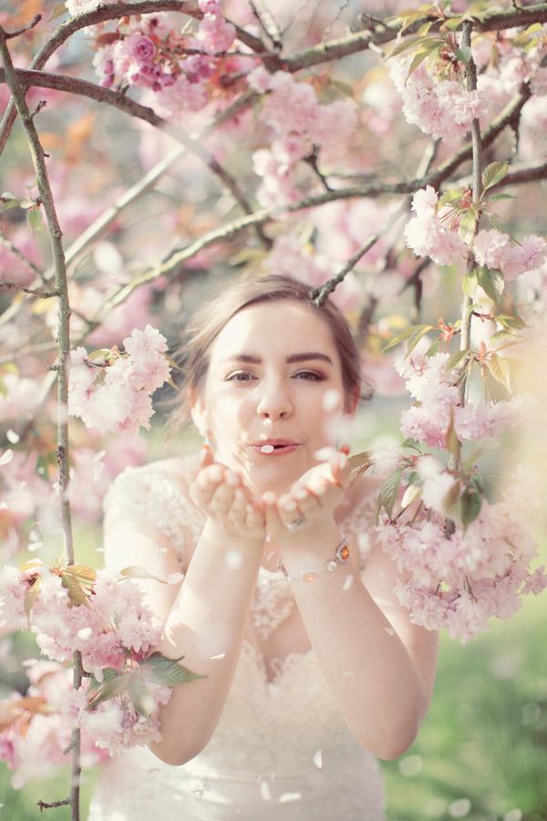 Cherry blossom and bride   Sasha Lee Photography