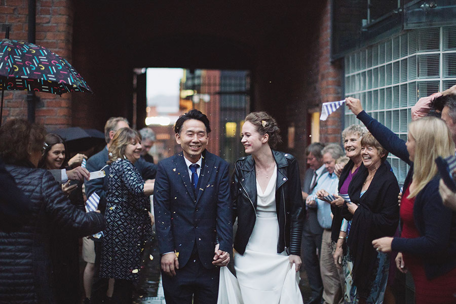 Sheffield wedding photographer| Natural wedding photography Yorkshire | Sheffield Fusion Organic Cafe | Interracial couple | English white bride and Japanese groom | Confetti