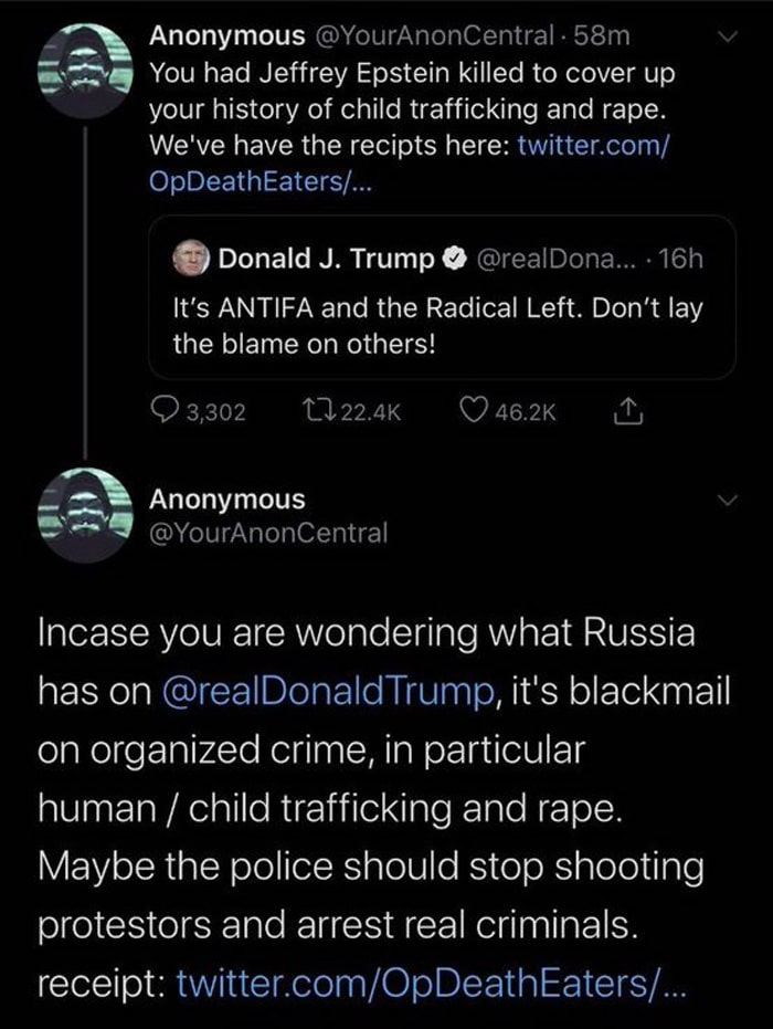 Anonymous returns with proof tying Trump and Naomi Campbell to Jeffrey Epstein and threats against the Minneapolis Police