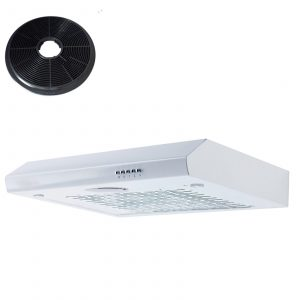 SIA STH60WH 60cm White Slimline Visor Cooker Hood Kitchen Fan And Carbon Filter