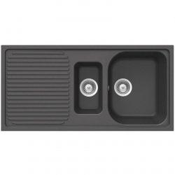 Schock Lithos D150 1.5 Bowl Onyx Black Reversible Granite Kitchen Sink And Waste