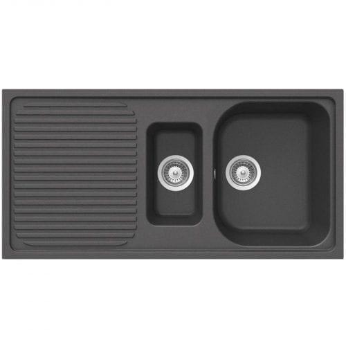 Schock Lithos D150 1.5 Bowl Onyx Black Granite Kitchen Sink & Waste | Reversible