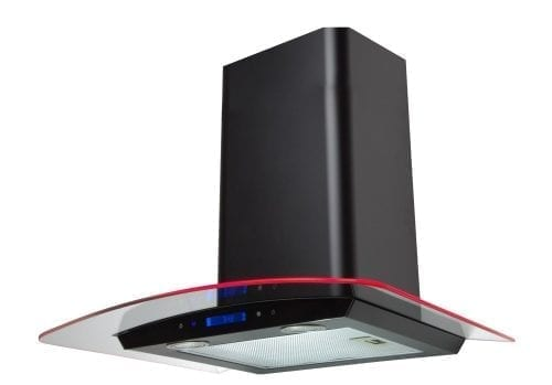 SIA 60cm Black Touch Control LED Curved Glass Cooker Hood Extractor + 3m Ducting