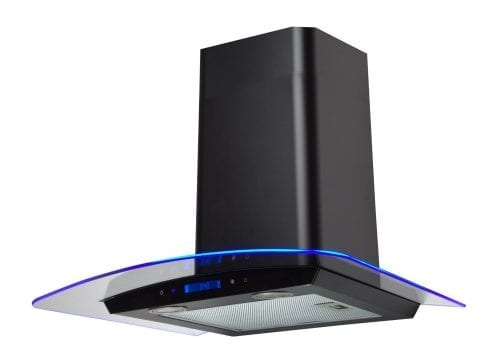 SIA 60cm Touch Control 3 Colour LED Edge Lit Curved Glass Black Cooker Hood