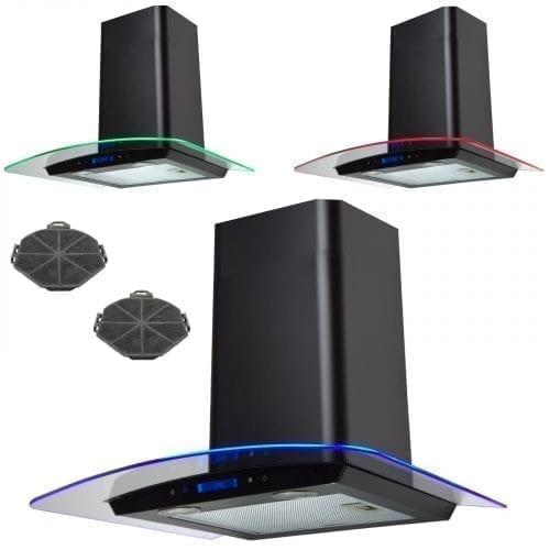 SIA 60cm Touch Control 3 Colour LED Curved Black Cooker Hood + Charcoal Filter