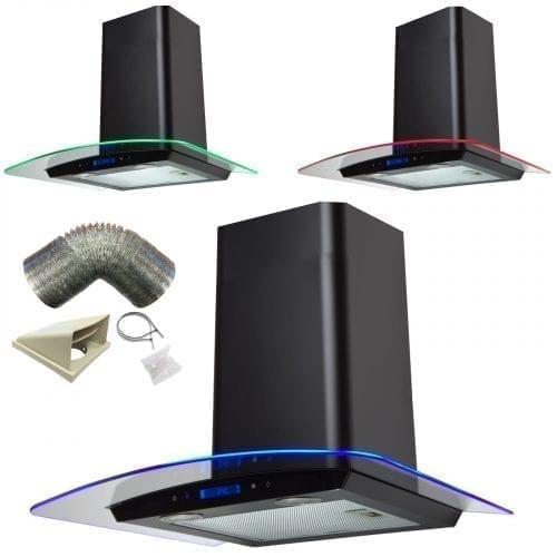 SIA 60cm Touch Control 3 Colour LED Curved Black Cooker Hood + 1m Ducting Kit