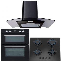 SIA Built Under Electric Double Oven, 60cm Black Gas Hob & Black Cooker Hood