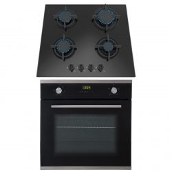 SIA 60cm Single Electric True Fan Oven And Black 4 Burner Gas On Glass Hob