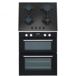 SIA 60cm Black Built Under Double Electric Fan Oven & SIA 4 Burner Gas Glass Hob