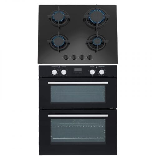 SIA Built Under Double Electric Fan Oven & SIA 60cm 4 Burner Gas Black Glass Hob