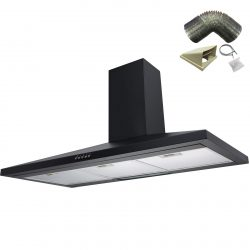 SIA CH91BL 90cm Black Chimney Cooker Hood Extractor Fan And 1m Ducting Kit