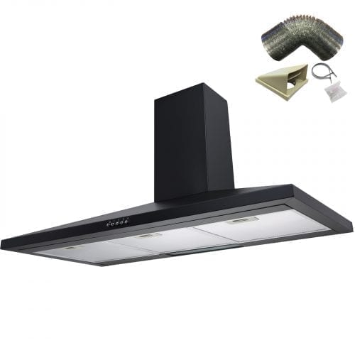SIA CH91BL 90cm Designer Black Chimney Cooker Hood Extractor + 3m Ducting Kit