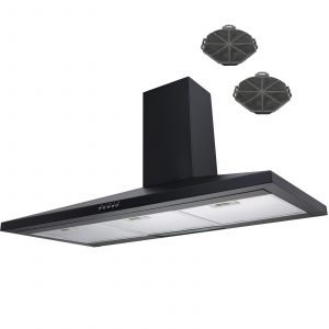 SIA CH91BL 90cm Black Chimney Cooker Hood Extractor Fan And Carbon Filters