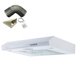 SIA ST60WH 60cm White Visor Cooker Hood Kitchen Extractor Fan And 1m Ducting Kit