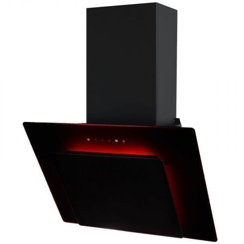 SIA 60cm 3 Colour LED Edge Lit Touch Control Black Angled Cooker Hood + Filter