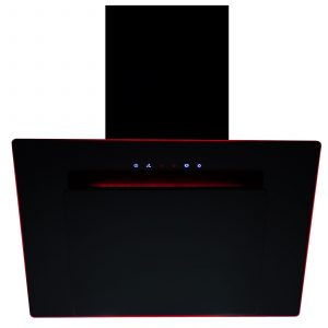 SIA 60cm 3 Colour LED Edge Lit Touch Control Black Angled Cooker Hood and Filter