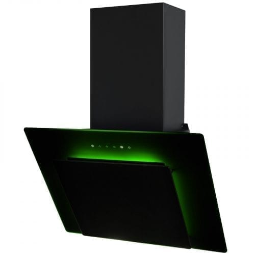 SIA 60cm 3 Colour LED Edge Lit Touch Control Black Glass Angled Cooker Hood