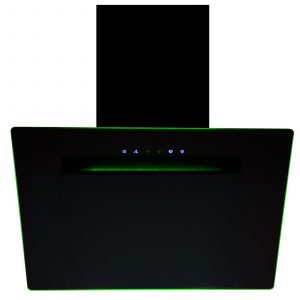 SIA 60cm 3 Colour LED Edge Lit Touch Control Black Cooker Hood and 3m Ducting