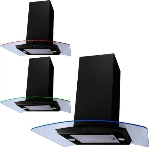 SIA 70cm 3 Colour LED Edge Lit Curved Glass Black Island Cooker Hood Extractor