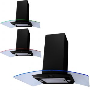 SIA 90cm Black 3 Colour LED Edge Lit Curved Glass Island Cooker Hood Extractor