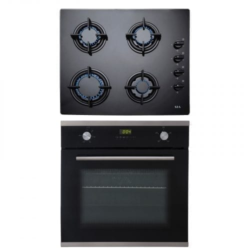 SIA SO102 60cm Single Electric Fan Oven & SIA GHG602BL 4 Burner Black Gas Hob