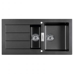 Franke Sirius SID651BL 1.5 Bowl Black Tectonite Reversible Kitchen Sink & Waste