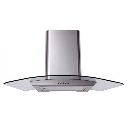 Matrix MEP901SS Stainless Steel 90cm Curved Glass Chimney Cooker Hood Extractor