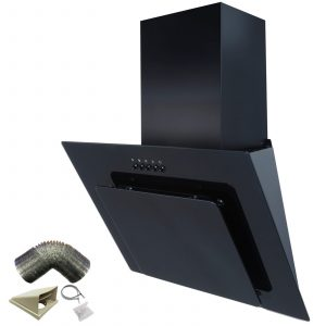 SIA AGL61BL 60cm Black Angled Glass Cooker Hood Extractor Fan And 3m Ducting