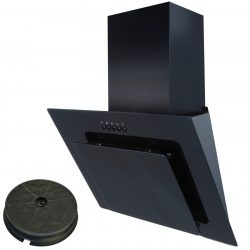 SIA AGL61BL 60cm Black Angled Cooker Hood Extractor Fan And Carbon Filter