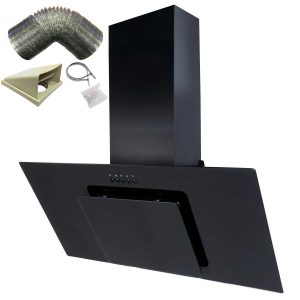 SIA 90cm Black Angled Glass Chimney Cooker Hood Extractor Fan And 1m Ducting Kit