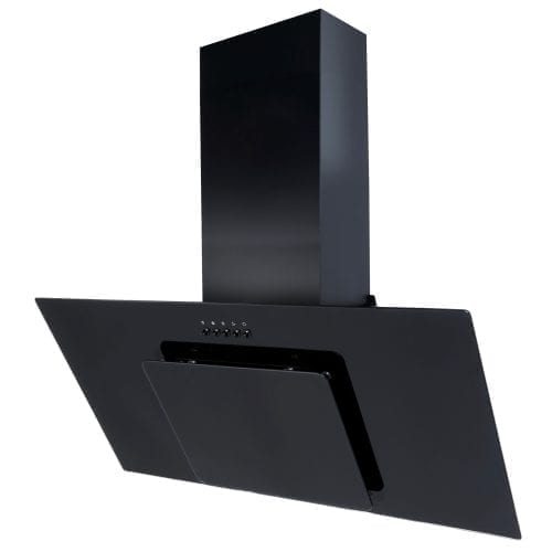 SIA AGL91BL 90cm Black Angled Glass Designer Chimney Cooker Hood Extractor Fan