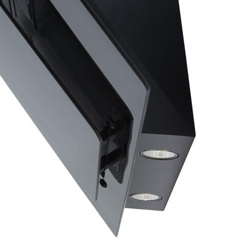 SIA AGL91BL 90cm Black Angled Glass Designer Chimney Cooker Hood Extractor