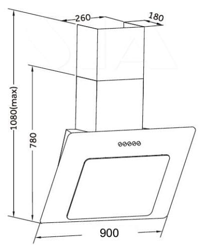 SIA 90cm Black Angled Glass Designer Chimney Cooker Hood Extractor + 3m Ducting