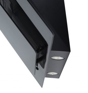SIA 90cm Black Angled Glass Chimney Cooker Hood Extractor Fan And Carbon Filter